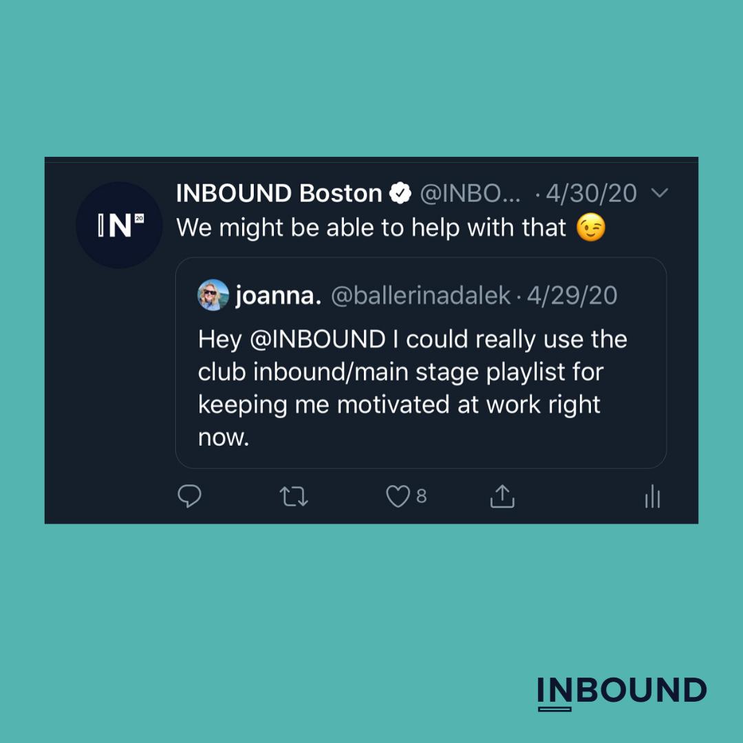 inbound 2020 main stage tweet